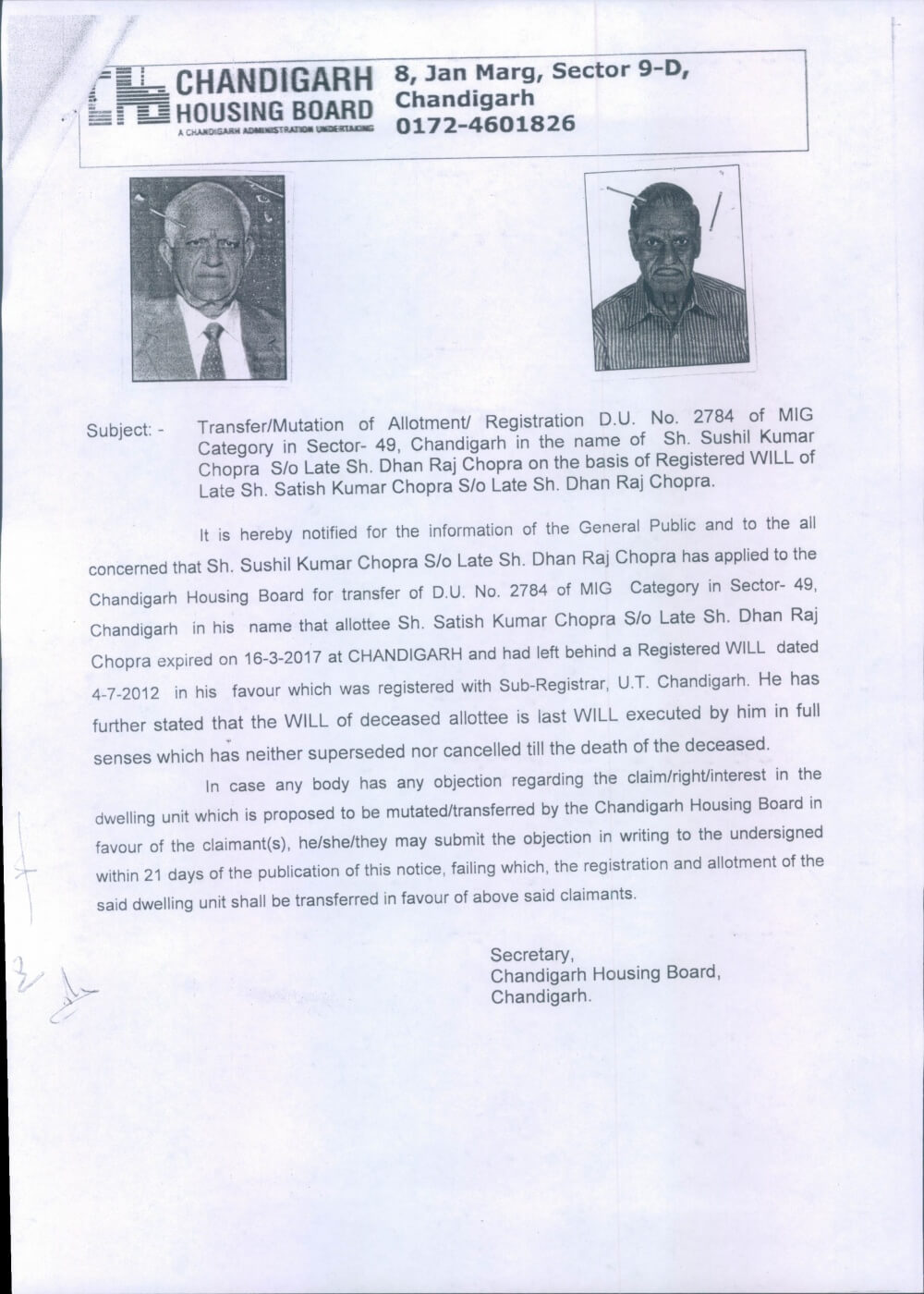 Issue of duplicate copies of allotment letter and possession.